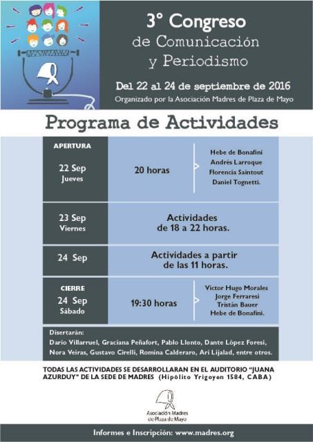 III Congreso de Comunicación y Periodismoorganizado por la Asociación Madres de Plaza de Mayo