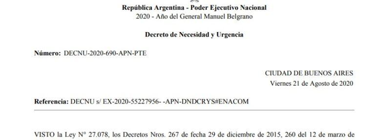 Declaración de REDCOM ante el DNU 690